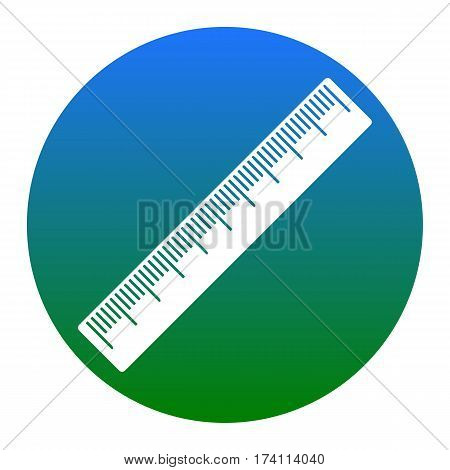 Centimeter ruler sign. Vector. White icon in bluish circle on white background. Isolated.
