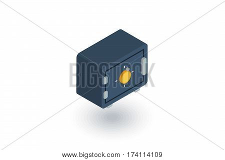 safe, banking money security, cash isometric flat icon. 3d vector colorful illustration. Pictogram isolated on white background