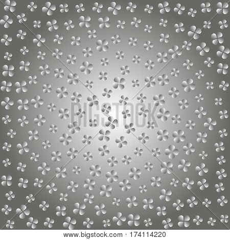 Abstract Gray Flowers. Poster Petals. Background Grey Gradient. Vector Illustration.