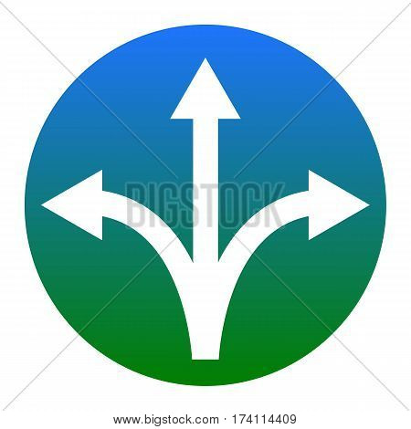 Three-way direction arrow sign. Vector. White icon in bluish circle on white background. Isolated.