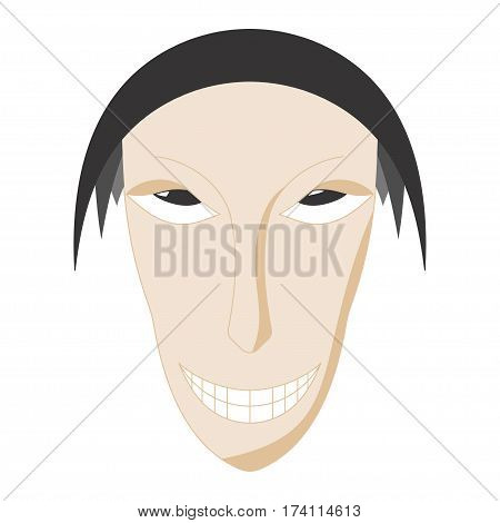 Sinister face. Thin face. Unpleasant face. White background. Vector illustration.