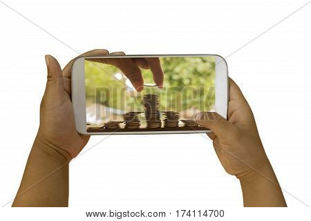 children hand holding smart phone with saving money on white background for business concept.