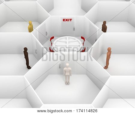 Five people with different skin colors standing front of door, around hexagonal closed white room with round table with Earth symbol, chairs and closed door with red exit text sign. 3D Illustration