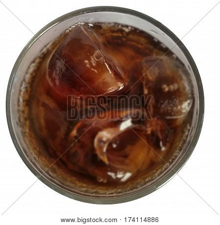 Coke and ice in a glass White background