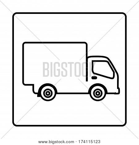monochrome contour square frame with truck vector illustration