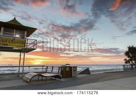 GOLD COAST, AUSTRALIA - FEBRUARY 28 2017: Lifeguard tower 34A at sunrise on Gold Coast Surfers Paradise beach