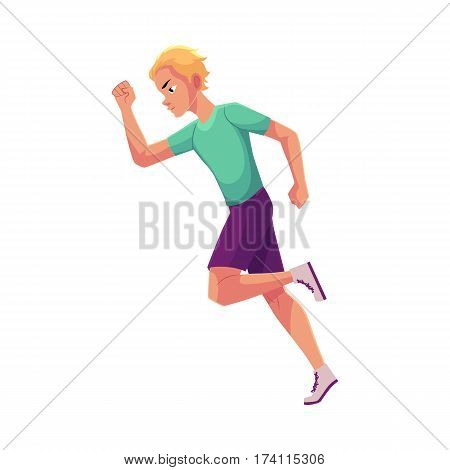 Young and handsome male runner, sprinter, jogger, cartoon vector illustration isolated on white background. Man running, sprinter, track and field, healthy lifestyle concept