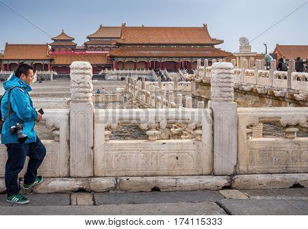 Beijing, China - Oct 30, 2016: Ornate balustrades and open courtyard around the Hall of Supreme Harmony (Taihedian). Forbidden City (Gu Gong, Palace Museum).