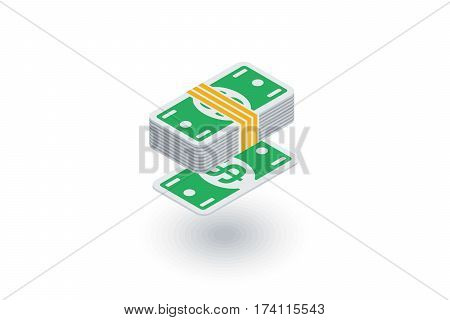 banking, money bundle, dollar banknotes isometric flat icon. 3d vector colorful illustration. Pictogram isolated on white background
