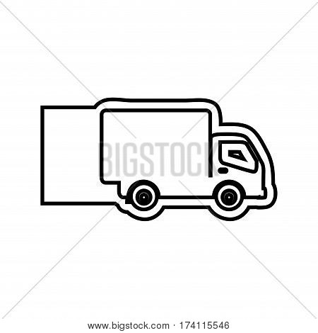 monochrome contour emblem with truck vector illustration