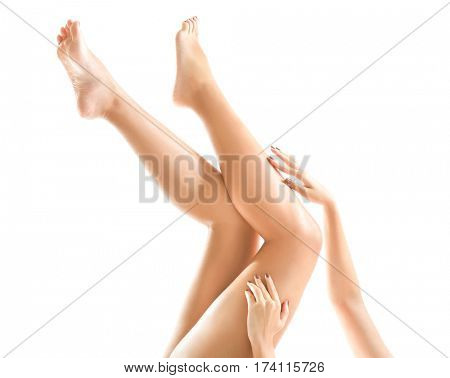 Healthy female legs and hands on white background