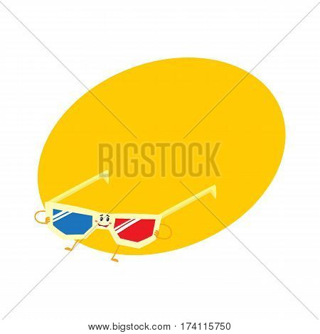Cute, funny blue and red stereoscopic, 3d glasses character with smiling human face, cartoon vector illustration with place for text. Smiling cinema stereoscopic, 3d glasses character, mascot