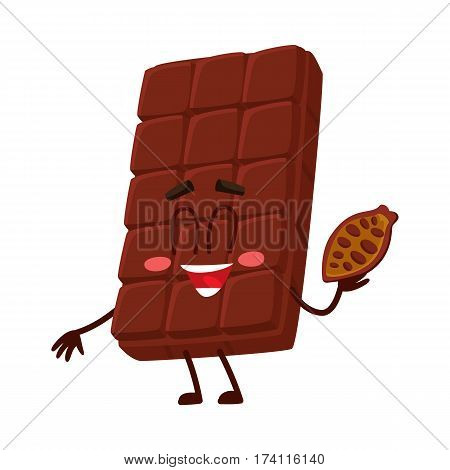 Cute chocolate bar character with funny face, holding cocoa bean, cartoon vector illustration isolated on white background. Funny chocolate character, mascot, emoticon with cocoa bean