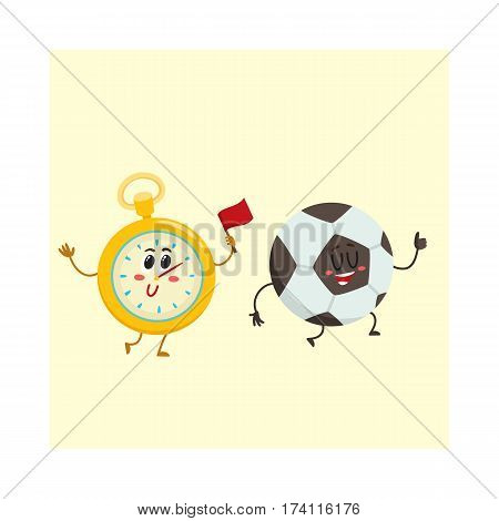 Funny stopwatch and football ball characters with smiling human faces, sport games, cartoon vector illustration isolated on white background. Smiling stopwatch and football, soccer ball characters