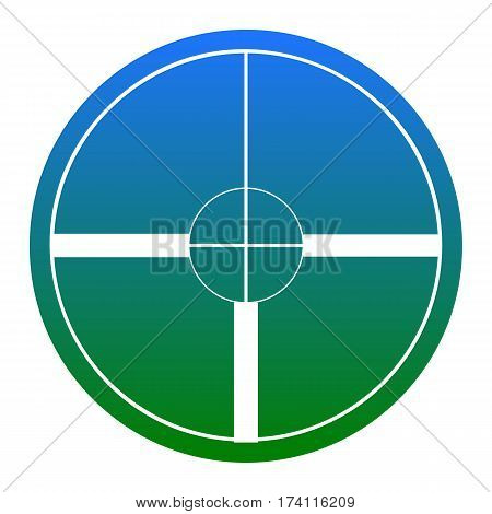 Sight sign illustration. Vector. White icon in bluish circle on white background. Isolated.