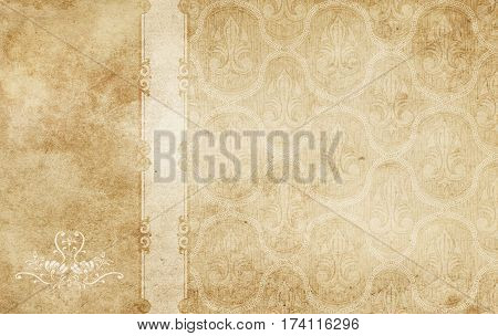 Old dirty paper background with old-fashioned patterns. Old wallpaper background for the design.