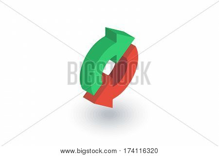Refresh Arrows, sync, exchange isometric flat icon. 3d vector colorful illustration. Pictogram isolated on white background