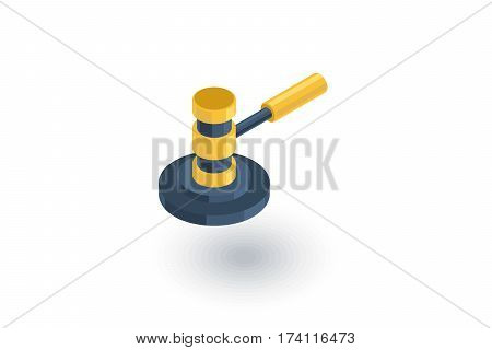 auction hammer, law and justice symbol, verdict isometric flat icon. 3d vector colorful illustration. Pictogram isolated on white background
