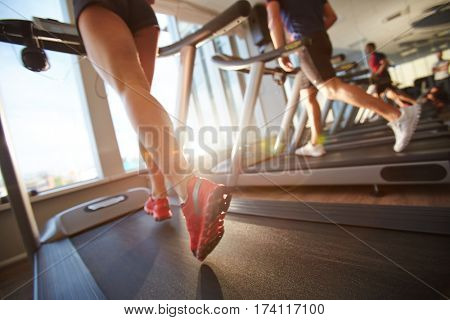Low-angle view of male and female legs running on treadmill in gym on sunny day