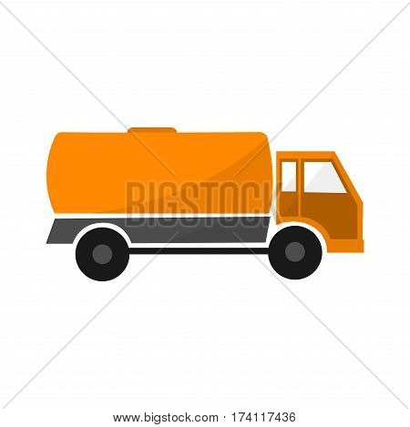 orange tank car flat illustration isolated industrial automobile with tanker cargo lorry with cistern