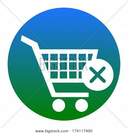 Shopping Cart with delete sign. Vector. White icon in bluish circle on white background. Isolated.