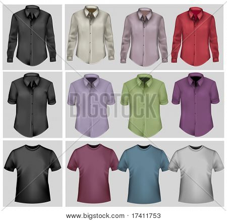 Colored and black polo shirts. Photo-realistic vector.