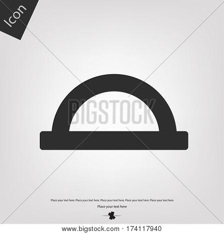 Protractor icon, gray background. Vector illustration .
