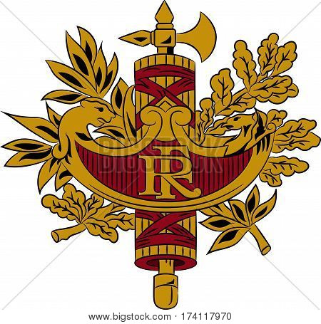 Coat of arms of France is a sovereign state including territory in western Europe. Vector illustration