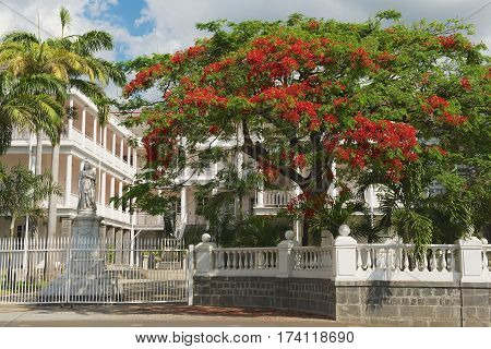 PORT LOUIS, MAURITIUS - NOVEMBER 29, 2012: View to the old colonial building in Port Louis, Mauritius.