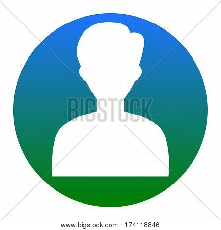 User avatar illustration. Anonymous sign. Vector. White icon in bluish circle on white background. Isolated.