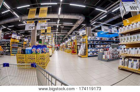 SAMARA RUSSIA - FEBRUARY 24 2017: Interior of the supermarket Lenta. One of largest retailer in Russia