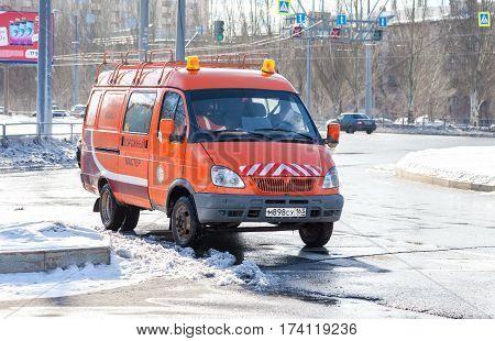 SAMARA RUSSIA - FEBRUARY 26 2017: Car road maintenance service is parked on a city street in Samara Russia