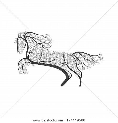 horse jumping stylized bush for use as logos on cards in printing posters invitations web design and other purposes.