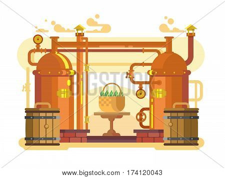 Brewery beer design flat. Alcohol beverage, lager drink, brew vector illustration