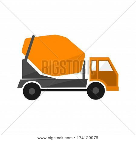 Concrete mixing truck . Flat design. Industrial transport. Construction machine. Orange lorry with mixer . For construction theme illustrating building companies ad. On white