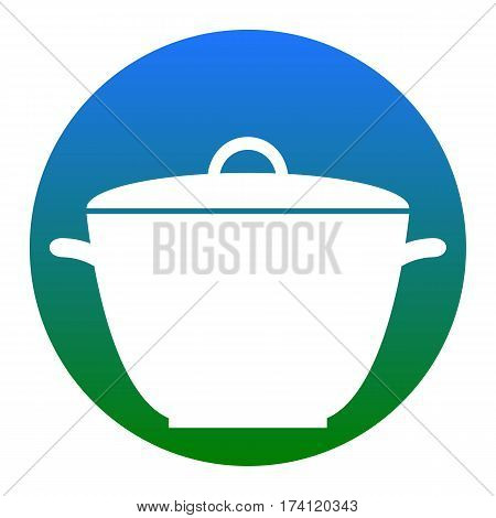 Saucepan simple sign. Vector. White icon in bluish circle on white background. Isolated.