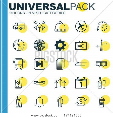 Set Of 25 Universal Editable Icons. Can Be Used For Web, Mobile And App Design. Includes Elements Such As Alert, Skip Song, Metro And More.