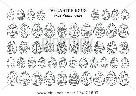Big vector Easter egg set. 50 Easter hand-drawn decorative ornate egg elements for your design. Outline egg signs.