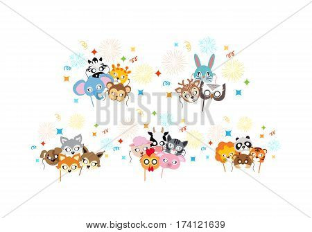 Animal carnival set of animal masks in cartoon style. Colourful decorations on background. Vector illustration of masques for festivals and children holidays. Dress code for kids in flat style design