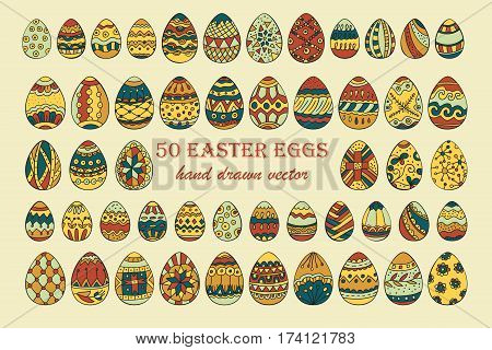 Big vector Easter egg set. 50 Easter hand-drawn decorative ornate egg elements for your design.