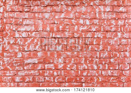 Grunge red-white brick wall as background texture