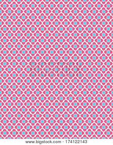 Seamless love pattern. Pink hearts and blue squares