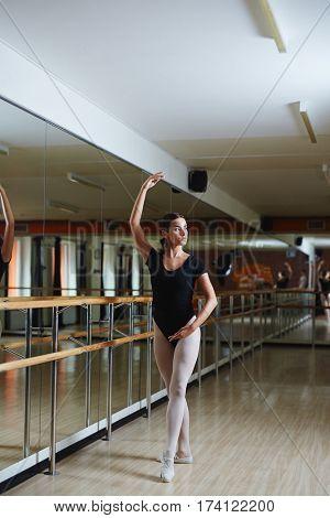 Full body shot of graceful Latin American ballerina taking elegant pose during ballet practice in dance studio