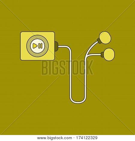 flat illustration on stylish background player with headphones