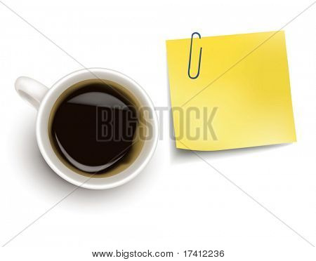 Yellow sticker note and a cup of coffee. Photo-realistic vector.