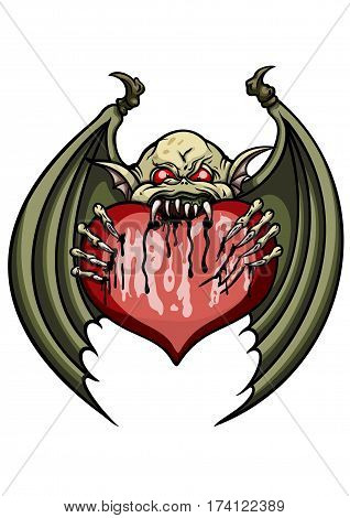 Illustration cartoon demon or a bat eating a valentine heart