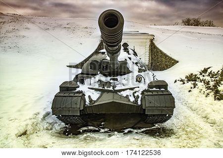 Kiev Ukraine - February 18 2017: Soviet tank T-10 of the museum of military