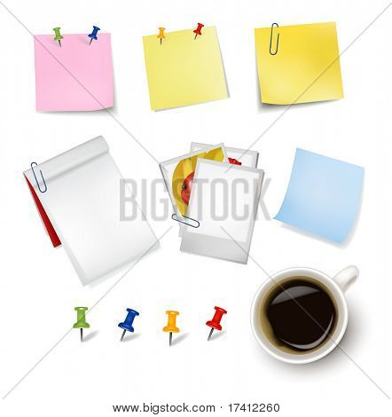 Sticker notes and a cup of coffee. Photo-realistic vector.
