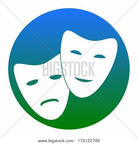 Theater icon with happy and sad masks. Vector. White icon in bluish circle on white background. Isolated.