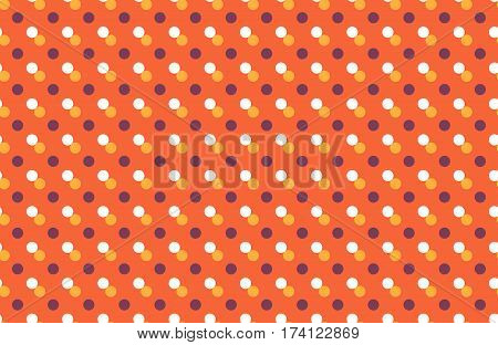 Seamless pattern with multicolored dots isolated on orange background